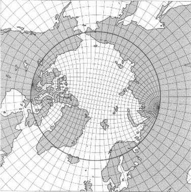 Polar view, with mesh