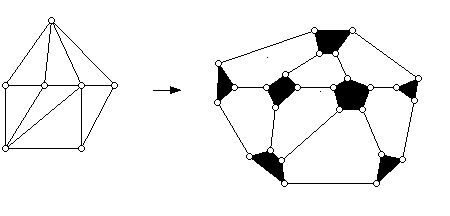 Graph in previous diagram converted to a 3-valent map