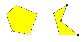 Convex and non-convex pentagons