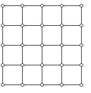 A 4 block by 4 block grid graph