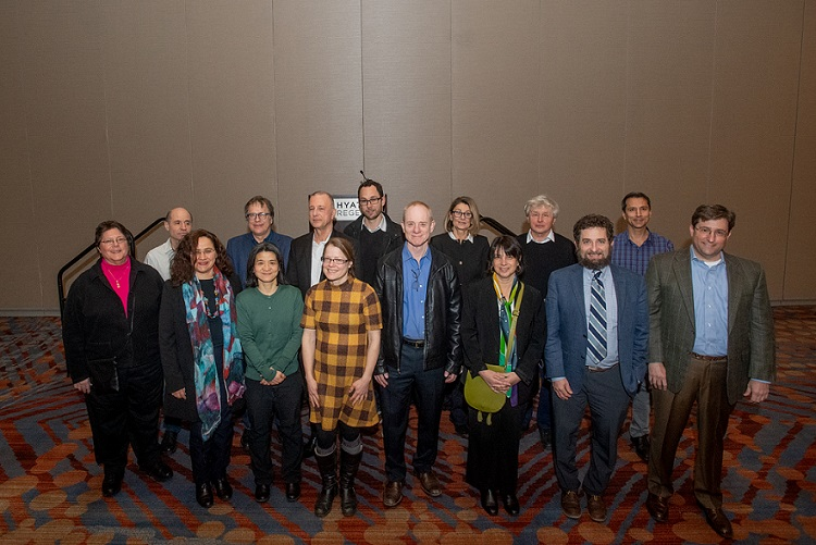 Photo of the 2020 class of AMS Fellows attending the reception