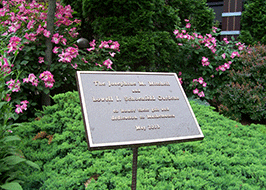 dedication plaque in AMS garden