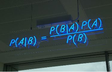 Bayes's Theorem in neon lights, from Wikipedia