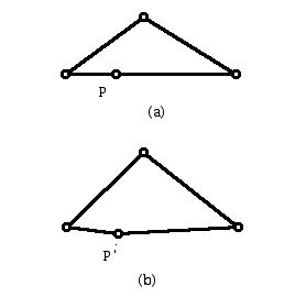 (a) quadrilateral with three points on a line; (b) convex quadrilateral