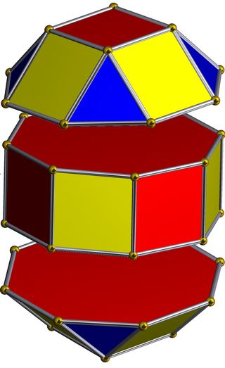 Caps of the rhombicuboctahedron separated