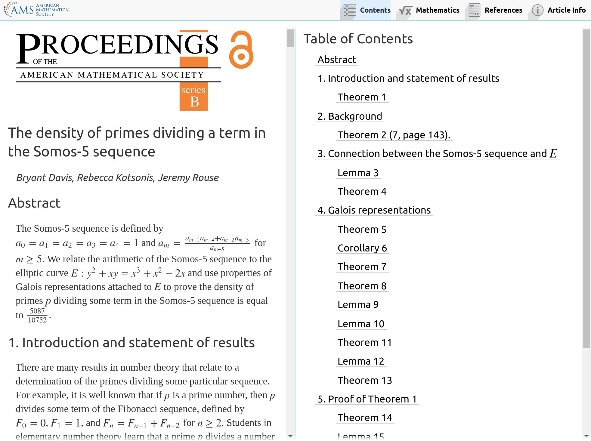 two-pane view of journal article in desktop browser