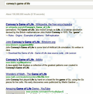 Screen shot of search results and Game of Life