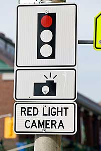 Red light photo sign