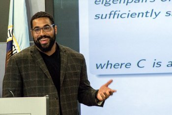 John Urschel giving a talk