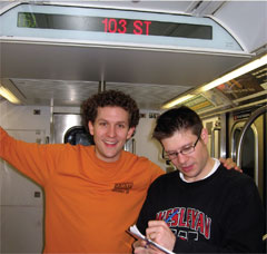 Chirs and Matt on the subway