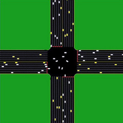 Still from simulation of autonomous intersection