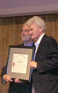 Marty Golubitsky and Distinguished Service Prizewinner Peter Lax