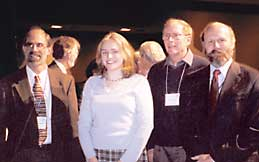 Melanie Wood with AMS, MAA and SIAM Presidents, Eisenbud, Graham and Hyman(left to right)