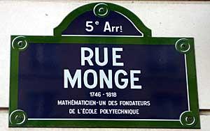 Rue Monge street sign