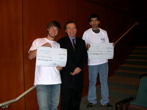 Kyle and Karan, with their 'checks'