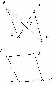 Diagram showing why Euclidean TSP can not cross itself