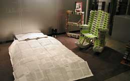 Bedroom furniture made from disused books