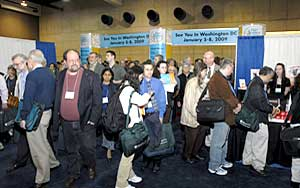 Crowd entering  the Exhibit Hall