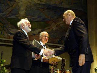 Norway's King Harald presents the Abel Prize   to Isadore Singer and Sir Michael Atiyah