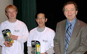 Cory, Winston, with their prizes, and Mike