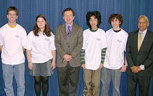 Contestants with host Mike Breen and George Washington University math professor Murli Gupta