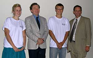 Stillwater high school contestants Calli and Kyle, along with Doug Arnold and Mike