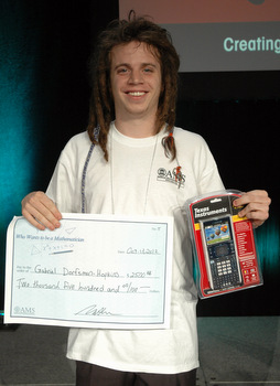 Gabriel Dorfsman-Hopkins with his winnings