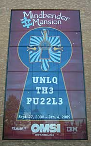 Sign for OMSI's puzzle exhibit