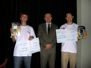 Andrew Ding and Taylor Harvey with their prizes (and Mike)