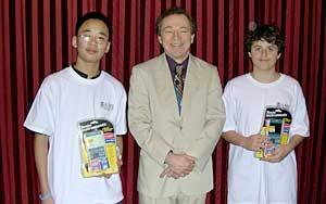 Linus and Alexander with their prizes and Mike