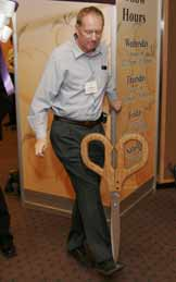 Ron Graham hams it up after the ribbon cutting ceremony that officially opened the Exhibit Hall