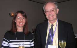 Deputy Editor Allyn Jackson and AMS President-Elect James Arthur at the Notices reception
