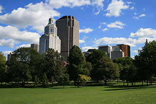 picture of downtown Hartford via Bushnell Park