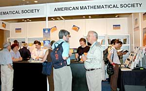 Visitors at the AMS Book exhibit