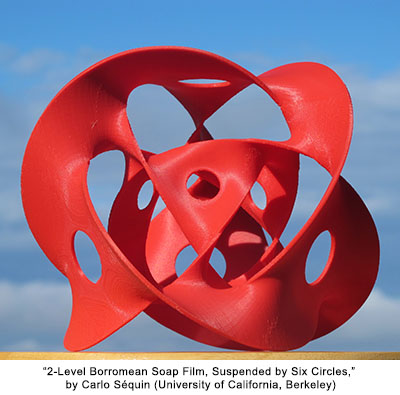 Two-Level Borromean Soap Film, Suspended by Six Circles