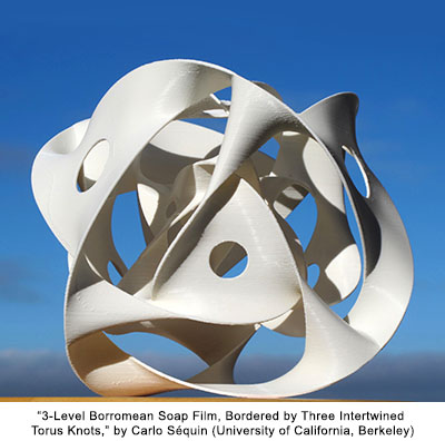 3-Level Borromean Soap Film, Bordered by Three Intertwined Torus Knots