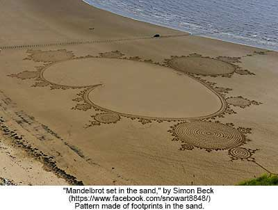 Mandelbrot set in the sand, view 2