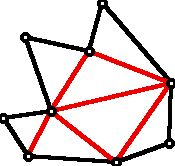 Triangulated polygon with red internal diagonals