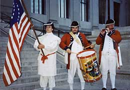 Fife and drum outside Franklin Institute