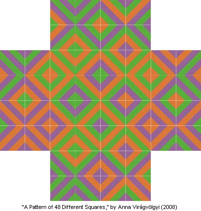 A Pattern of 48 Different Squares