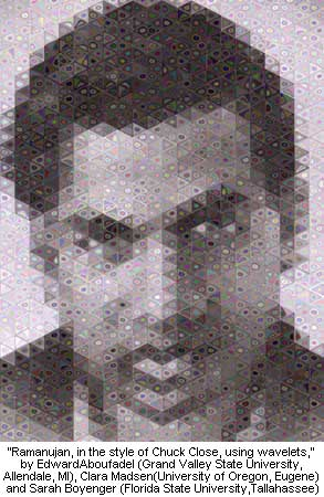 Ramanujan, in the style of Chuck Close, using wavelets