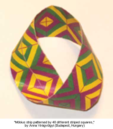 M�bius strip patterned by 48 different striped squares