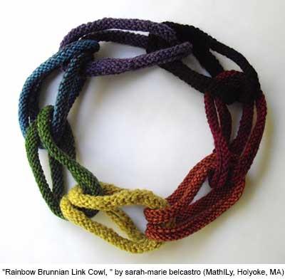 Rainbow Brunnian Link Cowl