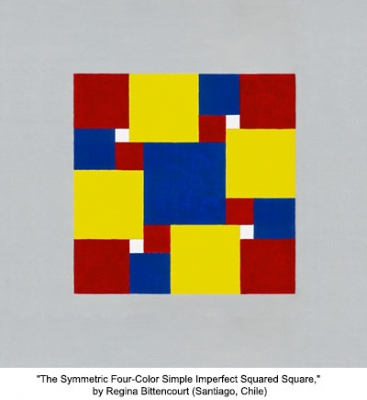 The Symmetric Four-Color Simple Imperfect Squared Square