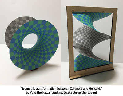 Isometric transformation between Catenoid and Helicoid by Yuto Horikawa