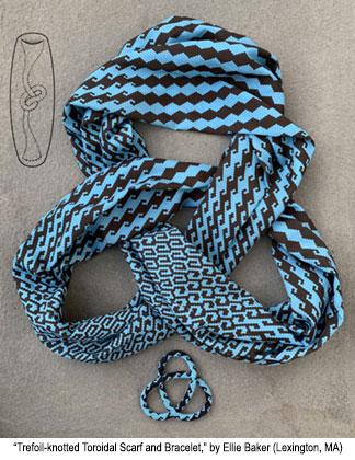 Trefoil-knotted Toroidal Scarf and Bracelet