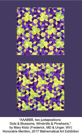 AAABBB, two juxtapositions: Dots & Blossoms, Windmills & Pinwheels