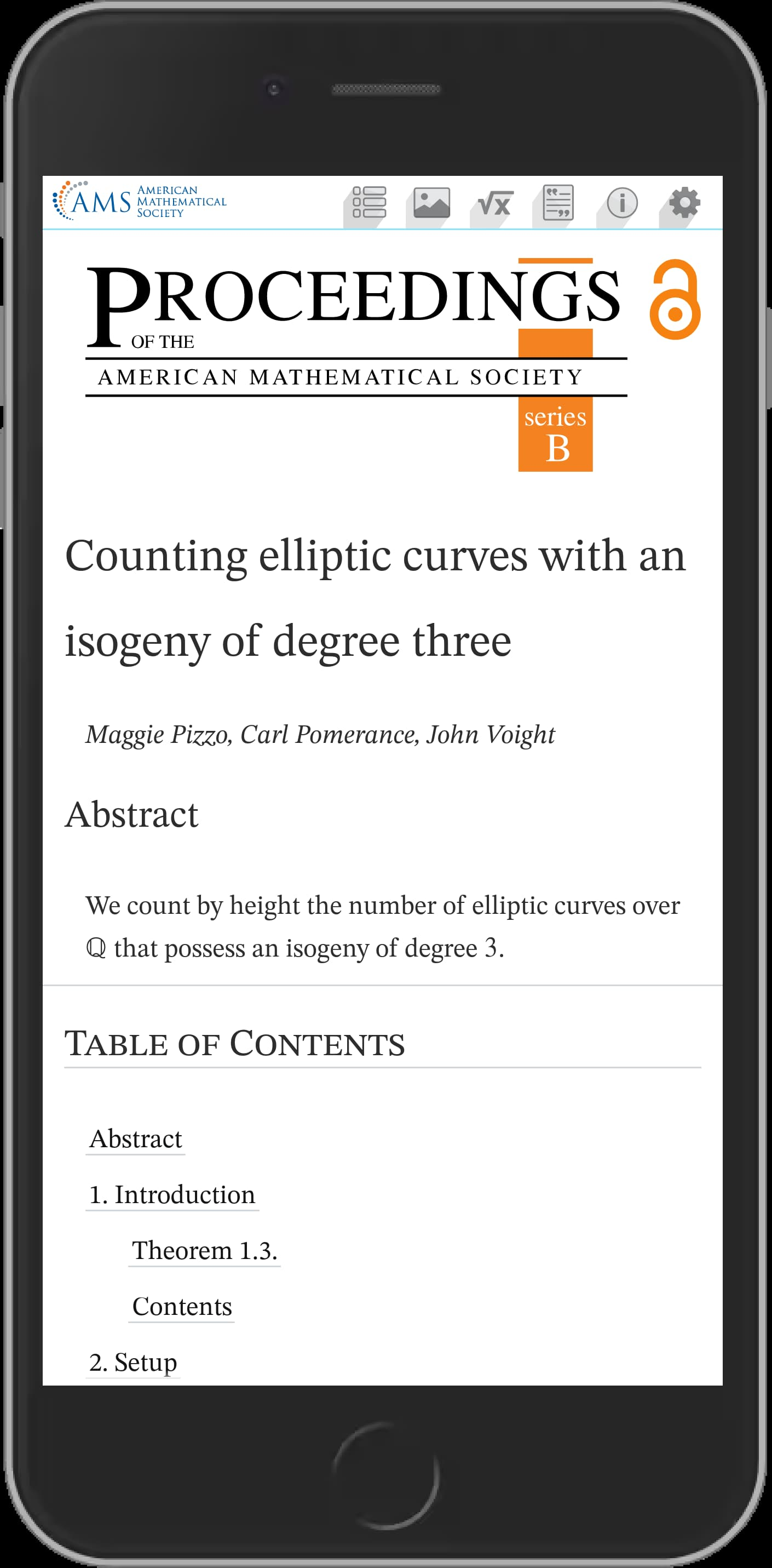 Vertical view of a MathViewer article