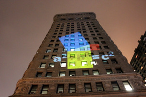 Pythagorean theorem projected on to Flatiron Building