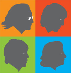 Silhouettes of the Beatles